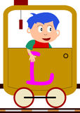 Kids & Train Series - L. Kids and train series (28 illustrations). Illustration of the alphabet letters from A to Z with two locomotives. You can choose and Royalty Free Stock Photo