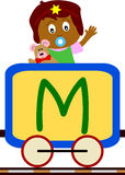Kids & Train Series - M. Kids and train series (28 illustrations). Illustration of the alphabet letters from A to Z with two locomotives. You can choose and Stock Photography