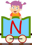 Kids & Train Series - N. Kids and train series (28 illustrations). Illustration of the alphabet letters from A to Z with two locomotives. You can choose and stock illustration