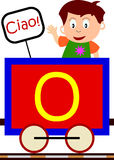 Kids & Train Series - O. Kids and train series (28 illustrations). Illustration of the alphabet letters from A to Z with two locomotives. You can choose and stock illustration