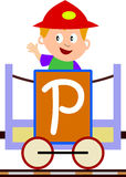 Kids & Train Series - P. Kids and train series (28 illustrations). Illustration of the alphabet letters from A to Z with two locomotives. You can choose and Royalty Free Stock Photography