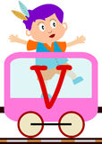 Kids & Train Series - V. Kids and train series (28 illustrations). Illustration of the alphabet letters from A to Z with two locomotives. You can choose and Stock Photography