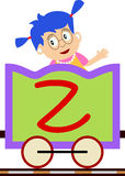 Kids & Train Series - Z. Kids and train series (28 illustrations). Illustration of the alphabet letters from A to Z with two locomotives. You can choose and Stock Photos