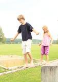Kids training stability Stock Photo