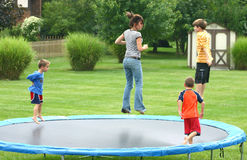 Kids on Trampoline stock photography