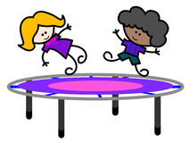 Kids at trampoline Stock Image