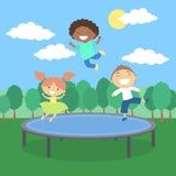 Kids on trampoline. stock illustration
