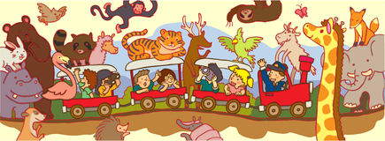 Kids travel through the wilderness safari by train Stock Image