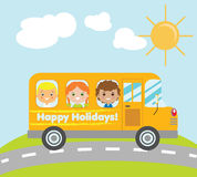 Kids travelling in yellow school bus. Summer holidays children theme vector illustration Stock Photography