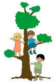 Kids and a Tree Royalty Free Stock Images