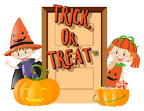 Kids and trick or treat on halloween night Stock Image