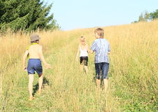 Kids on trip. Three kids - two boys and one girl walking on meadow Royalty Free Stock Image