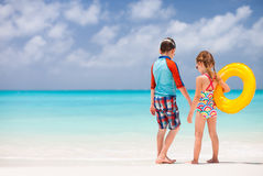 Kids at tropical beach Royalty Free Stock Photo