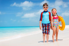 Kids at tropical beach Royalty Free Stock Images