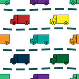 Kids trucks retro background seamless pattern Stock Photos