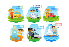 Kids Trying Different Professions Set Small Boys Collection. Flat Vector Illustration Stock Photos