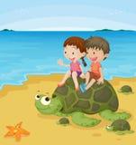 Kids on turtles Royalty Free Stock Photo
