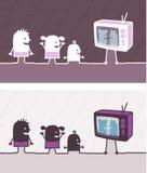 Kids & TV colored cartoon Stock Photos
