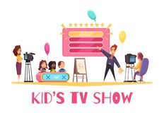 Kids TV Show Composition. Television games competitions show for children cartoon composition with kids presentator operator in tv studio vector illustration royalty free illustration