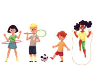 Kids twirling hula hoop, playing badminton, soccer, jumping over rope Royalty Free Stock Images
