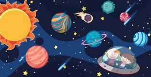 Kids and UFO in the Milky Way. Illustration Royalty Free Stock Photos