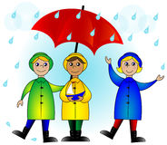 Kids with an umbrella Royalty Free Stock Image