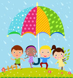 Kids and umbrella Royalty Free Stock Images
