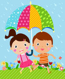 Kids and umbrella Royalty Free Stock Photography