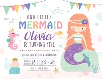 Kids under the sea birthday party invitation card. Kids birthday party invitation card with cute little mermaid and marine life Stock Images
