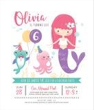 Kids under the sea birthday party invitation card. Kids birthday party invitation card with cute little mermaid and marine life Royalty Free Stock Photos