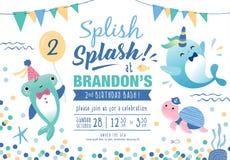 Kids under the sea birthday party invitation card stock illustration