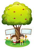 Kids under the tree with empty signboards Stock Photo