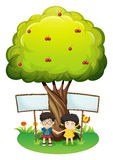 Kids under the tree with empty signboards Royalty Free Stock Image