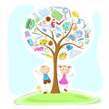 Kids under Wisdom Tree. Illustration of kids under education object in wisdom tree Stock Photo