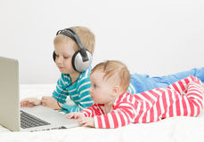 Kids using computer Stock Image