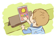 Kids using digital tablet for playing game. Kids using digital tablet for playing game, Drawing vector illustration Stock Photo