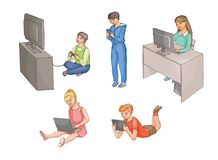 Kids using gadgets, technologies, front view Stock Images