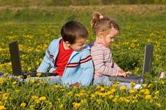 Kids Using Laptops Stock Photo