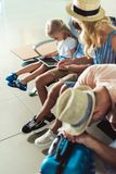 Kids using tablet at airport Stock Photography