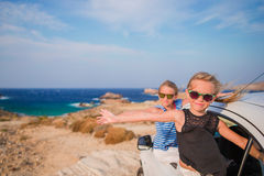 Kids on vacation travel by car. Summer holiday and car travel concept Stock Photo