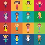 Kids of Various Ethnic Groups Isolated Vector. Kids of various ethnic groups isolated on colorful backgrounds in concept of universal childrens day Royalty Free Stock Images
