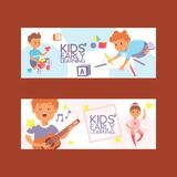 Kids vector cartoon girl boy characters children dancing or playing music on guitar and playing blocks backdrop. Illustration set background stock illustration