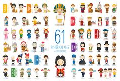 Kids Vector Characters Collection: Set of 61 Historical Ages and Civilizations in cartoon style. Vector illustration stock illustration