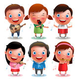 Kids vector characters playing musical instruments like guitar, violin, drums, flute. And listening music  in white background with notes. Vector illustration Stock Image