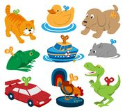 Kids vector toys clockwork key mechanism mechanic cartoon animals in toyshop for child clock work car and boat in Stock Photos