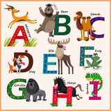 Kids vector Zoo alphabet with animals royalty free illustration