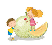 Kids and vegetable fruit Royalty Free Stock Photos