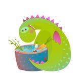 Kids vegetarian baby dragon eating cooking fun cute cartoon Royalty Free Stock Images