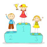 Kids on Victory Podium. Illustration of kids standing on victory podium with medal Stock Photo