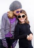 Kids and vinatge glasses Royalty Free Stock Photos